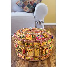 Traditional Indian Pouf (Set of 2) - Overstock™ Shopping - Great Deals on Ottomans