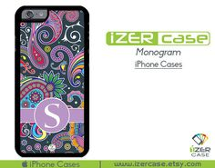 Monogram Personalized iPhone 6/6S Case, iPhone 6/6S PLUS, iPhone 5/5S,  iPhone 5C, iPhone 4/4S Paisley Colorful