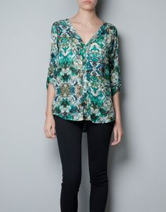 great shape and print for you PRINTED BLOUSE WITH STUDS - Shirts - Woman - ZARA