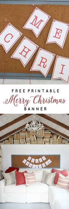 Decorate your home, party, hot chocolate bar and more with this Free Printable Merry Christmas Banner!