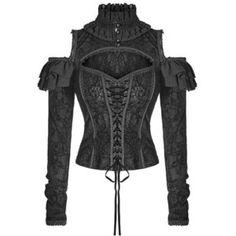 Punk Rave Blouse Top Womens Black Corset Gothic Steampunk VTG Victorian Velvet