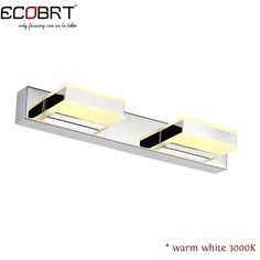 ECOBRT Modern LED Mirror Lamp 2-lights in bathroom 8W Wall Sconces Lighting Fixture Stainless Steel 32cm Long