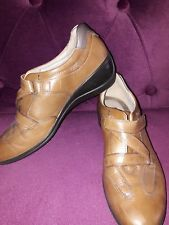 "ECCO TAN LEATHER VELCRO FASTENING SHOES 2"" HEEL SIZE 5 EU 38 - WORN ONCE"