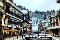 銀山温泉 Japanese Hot Springs, Spirited Away, Environment, Street View, Places, Travel, Globe, Layout, Viajes