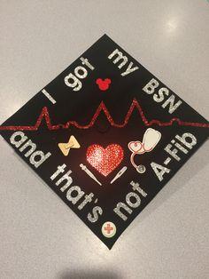 Graduation cap BSN Nursing pun Afib atrial fibrillation