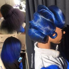 She basically transforms her everyday clients into walking works of art, like this gorgeous sculpture. This Hairstylist Thinks Her Stunning Retro Looks Belong In An Art Museum And She's Goddamn Right Black Girls Hairstyles, Cute Hairstyles, Hairstyle Ideas, Beautiful Hairstyles, Vintage Hairstyles, Locks, Curly Hair Styles, Natural Hair Styles, Blue Natural Hair