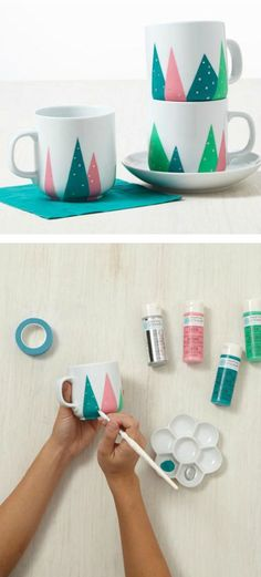 Cute Christmas mugs hand painted with Martha Stewart paints - easy to make and great for Christmas gifts or decorations