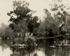 Couple boating on Lancaster Lake near Sunland Park, circa 1900. Lancaster Lake was a popular location for early film makers. Little Landers Historical Society. San Fernando Valley History Digital Library.