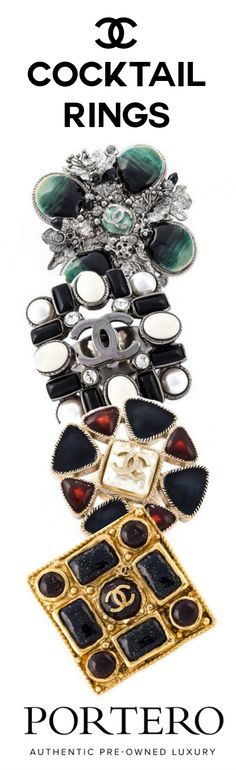 At PORTERO, you can find both Chanel's costume pieces as well as its more precious stone pieces. Chanel Jewelry, Jewellery, Luxury Handbags, Coco Chanel, Cocktail Rings, Luxury Branding, Jewelry Watches, Silver Rings, Costume