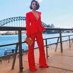 6bab4ef69577 Newest Celebrity Party Jumpsuit Women Red Long Sleeve V-Neck 2 Two Piece  Set Elegant