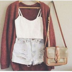 casual, white top, denim shorts, maroon cardigan