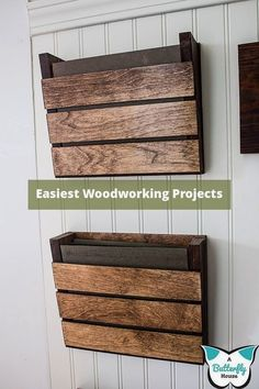 Build a small beautiful farmhouse wood wall organizer for your office mudroom entryway garage or kitchen! This step by step DIY tutorial gives you all the details of how I built my organizer out of scrap wood! - May 04 2019 at Wood Projects For Beginners, Scrap Wood Projects, Easy Woodworking Projects, Popular Woodworking, Woodworking Furniture, Diy Projects, Project Ideas, Scrap Wood Crafts, Woodworking Tools