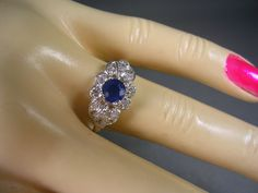 Art Deco Sapphire and Diamond Ring 14K White Gold .80Ctw Size 7.75 Wedding Engagement or Birthstone for September. $695.00, via Etsy.