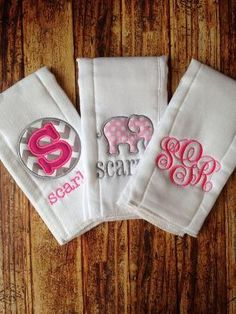 Set of 3 Personalized Burp Cloths - Diaper Cloths - Baby Girl - Monogrammed - Gift Set - Elephant Burp Cloth Diapers, Burp Cloths, Baby Monogram, Monogram Gifts, Baby Gift Sets, Baby Gifts, My Baby Girl, Baby Love, Everything Baby