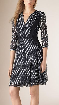 Navy Printed Silk Dress with Contrast Panels - Image 1