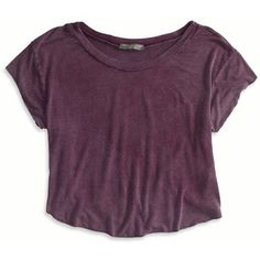 American Eagle Outfitters Dont Ask Why Swingy Cropped Tee ($25) ❤ liked on Polyvore featuring tops, t-shirts, shirts, crop tops, raisin wine, curved hem t shirt, purple t shirt, curved hem tee, jersey t shirt and lightweight t shirts