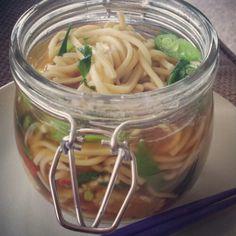 Homemade pot noodle. Noodle soup to go.  Pho. Mason jar soup.