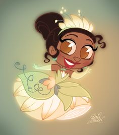 Tiana Chibi Disney by princekido Disney Fan Art, Disney Pixar, Disney Cast, Disney Artwork, Disney Drawings, Disney And Dreamworks, Disney Animation, Disney Cartoons, Disney Magic