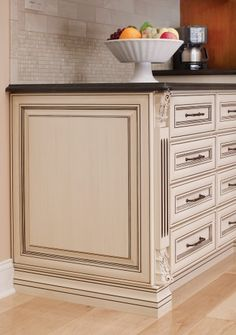 Covered Bridge Cabinetry- Two Toned French Style Kitchen Glass Front Cabinets, First Kitchen, French Kitchen, French Country Style, Kitchen Cabinetry, Kitchen Cart, Counter, Master Bedroom, Bridge