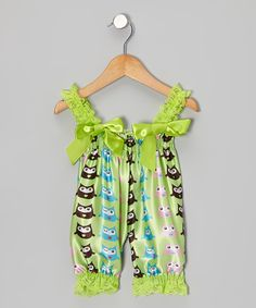 Take a look at this Lime Green Owl Bubble Romper - Infant & Toddler on zulily today!