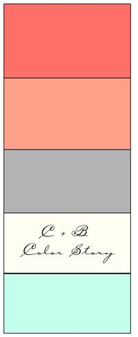 Color palette: coral, gray, cream, and mint.  Time to finally decorate and throw color in our bedroom!