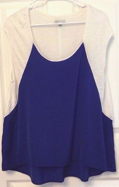 American Eagle Blouse Size L 2 Tone Royal Blue White Sleeveless Silky and Knit #AmericanEagleOutfitters #Blouse #Casual