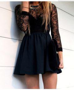 Dress: lace dress, little black dress, cute dress, prom dress . Semi Dresses, Hoco Dresses, Dance Dresses, Pretty Dresses, Beautiful Dresses, Dress Prom, Long Sleeve Homecoming Dresses, Party Dress, Semi Formal Dresses For Teens