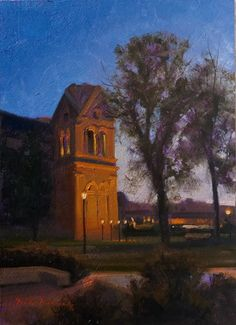 """SOLD-""""Notes and Brushstrokes 2014 #9"""" oil 5x7 by Dix Baines -Saint Francis Cathedral in Santa Fe, New Mexico. Beautiful twilight scene by Dix Baines."""