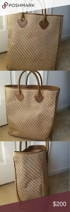 Rare Authentic Vintage Gucci XL Tan Tote Bag Extra Large Canvas & Leather Tote. Sign of wear consistent with use shown in pictures. Fast Immediate Priority Shipping! Please visit my closet for additional designer items. Thank you. Gucci Bags Totes