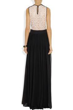 By Malene Birger|Tiari lace-trimmed silk-chiffon gown|NET-A-PORTER.COM