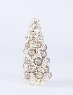 Bethany Lowe Medium White Bottle Brush Tree with Silver Ornaments