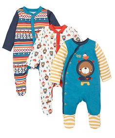 Bear Sleepsuits - 3 Pack. These colourful sleepsuits are made from soft cotton fabric to keep baby comfortable throughout the day or night.