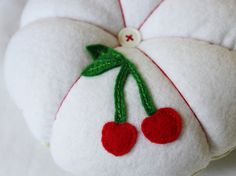 FUN! Jumbo Cherry and Gingham Pincushion (hand appliqued and embroidered) by SomeLittleGood on Etsy