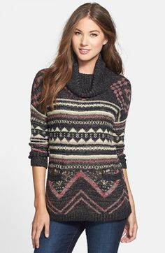 ac18f61f1ef Lucky Brand Print Cowl Neck Sweater available at  Nordstrom Cowl Neck