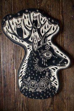 Bryn Perrott (Deerjerk) Deer and Owls, woodcut 2013 Stencil, Et Tattoo, Linoleum Block Printing, Stamp Carving, Linoprint, Stamp Printing, Screen Printing, Sgraffito, Art Graphique
