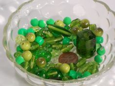 100 Mixed Loose Green Beads / Multi Green Bead by OneCrazyBeadLady