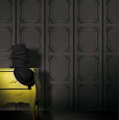 Paneling wallpapers by koziel on pinterest panelling wallpapers and charcoal - Papier peint trompe l oeil boiserie ...