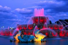 The landmark Clarence Buckingham Fountain in Chicago's Grant Park. The fountain was commissioned in 1927 by Kate Buckingham to honour her late brother Clarence.