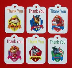 Paw Patrol Thank You Tags . Paw Patrol by TheBlissfulBaker on Etsy