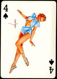 Alberto Vargas - Pin-up Playing Cards (1950) - 4 of Spades
