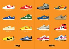 40 years of Nike - series of posters that showcases four decades of Nike shoes.
