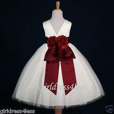 IVORY/BURGUNDY WINE WEDDING GOWN PRINCESS FLOWER GIRL DRESS 18M 2 4 6 8 10 12