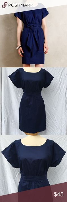 Anyhtopologie HD in Paris Ribboned Poplin Dress Blue ribboned poplin dress with size zipper and pockets.  Excellent condition. Size 14. Anthropologie Dresses Midi