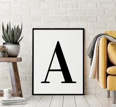 "Letter ""A"" Printable Art Poster, Alphabet A Letter Art, Typography Poster, Nursery Printable Wall Art, Inspirational Art *INSTANT DOWNLOAD* Printing Websites, Online Printing, Letter Wall Art, Black And White Wall Art, Typography Poster, Printable Wall Art, Lettering, Alphabet, Nursery"