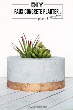 DIY Faux Concrete Succulent Planter.... so cool that it