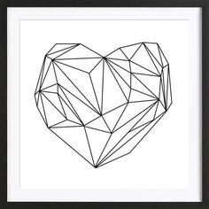 Heart Graphic als Premium Poster gerahmt