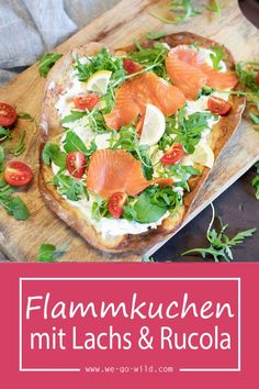 Flammkuchen mit Lachs und Rucola - Expolore the best and the special ideas about Frugal meals Meals For Four, Large Family Meals, Easy Healthy Recipes, Crockpot Recipes, Vegetarian Recipes, Frugal Meals, Easy Meals, Salmon Recipes, Chicken Recipes