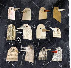 oiseaux je connais 1, oiseaux, oiseaux oiseaux or, chefs, oiseaux mixte, mélangé media collage, imprimer des supports mixtes