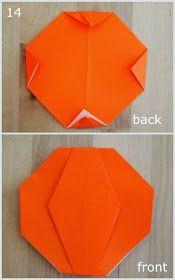 Jack-O-Lantern Pumpkin steps 14 showing how to fold an origami pumpkinsteps 14 showing how to fold an origami pumpkin Origami And Math, Origami Mouse, Origami Yoda, Origami Star Box, Origami Dragon, Origami Fish, Modular Origami, Useful Origami, Oragami