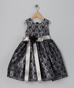 Take a look at this Black & Silver Floral Dress - Infant, Toddler & Girls by Cinderella Couture on #zulily today!